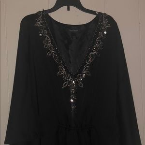 White House Black Market Blk Satin Kimono Dress